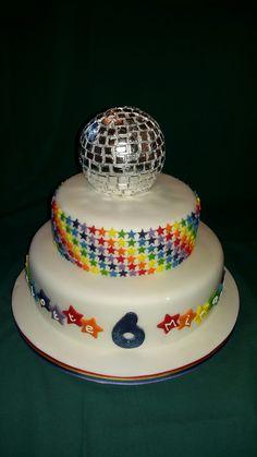Edible glitter ball rainbow disco dance party birthday cake
