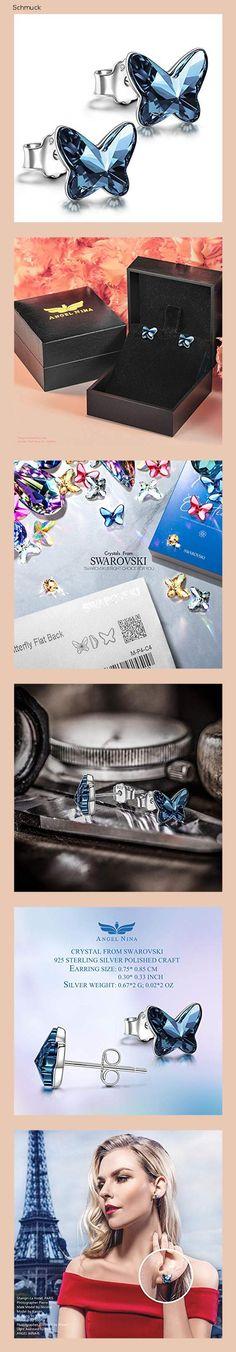 ANGEL NINA Ohrstecker Silber, Geschenk für frauen Schmetterling Ohrringe silber 925 Geschenke für mädchen Swarovski Kristall schmuck Damen - 14ha