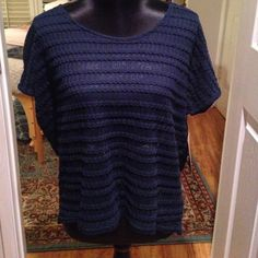 Blue short sleeve embroidered shirt Brand new with tags, lace and embroidery, navy blue. Very pretty. Threads 4 thought Tops