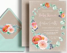 f0e94a833ab6 Kraft Bridal Shower Invitation Peony Rustic Succulent Peach Coral Mint  Peach Watercolour Wreath by WestminsterPaperCo