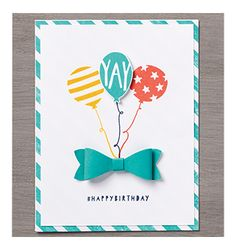 The bow created from the Bow Punch holds a fun bouquet of balloons on this DIY birthday card.  Colors of Bermuda Bay and Crushed Curry are refreshing on this card with lots of personality.