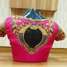 The blouse with the golden glossy work throughout will create a dazzling look # Customized Brocade Blouse Designs, Wedding Saree Blouse Designs, Pattu Saree Blouse Designs, Simple Blouse Designs, Stylish Blouse Design, Designer Blouse Patterns, Blouse Neck Designs, Hand Work Blouse, Zardosi Work Blouse