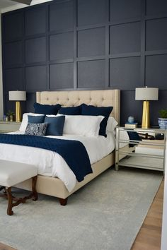 When to Install a Board and Batten Accent Wall - Bedroom - Pallet Dark Accent Walls, Accent Wall Bedroom, Blue Bedroom, Bedroom Colors, Bedroom Decor, Dark Walls, Wall Decor, Wall Behind Bed, Bed Wall