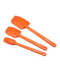 Look at this #zulilyfind! Orange Lil' Devils Three-Piece Spatula Set by Rachael Ray #zulilyfinds