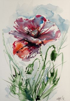 Poppy - original watercolour painting by KAB 8 x 10 inch