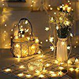 Parsion Led Lichterkette Sterne 40er für Party, Garten, Weihnachten, Halloween, Hochzeit, Beleuchtung Deko usw. 5M warm weiß [Energieklasse A++]