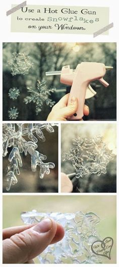 Use a hot glue gun to create fun and festive DIY snowflake window clings!