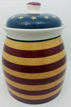 67d80a23d81 Patriotic Cookie Jar Ceramic Lid Red White Blue Flag Stars   Stripes Jay  Import. Canister Sets ...