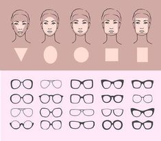 How to Choose Glass Frames for Your Face Shape - Beauty vector illustration of sunglasses for different faces. Five female face types: round, oval, - Glasses For Oval Faces, Glasses For Face Shape, Types Of Glasses, Cute Glasses, New Glasses, Eyeglasses For Women Round Face, Frames For Round Faces, Diy Jewelry Unique, Diy Jewelry To Sell