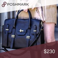 """🎉HP 🎉 Rebecca Minkoff Jules Satchel Price firm. Great condition. Lining does need to be cleaned & there are some minor scratches on the feet. Leather is in perfect condition with no scratches. Amazing bag. I am selling the large version. Shoulder strap & dust bag included. (cover photo cred: thechloeconspiracy.com). lower on merc.                                          14.5""""W x 10""""H x 6""""D 3.5"""" handle drop 17"""" adjustable detachable shoulder strap drop Magnetic snap button closure 2…"""