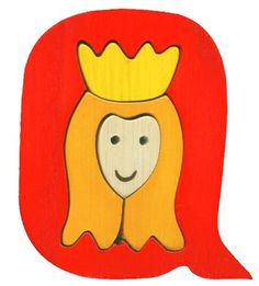 Montessori wooden puzzle Queen made by hand of maple by Ludimondo