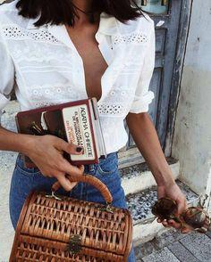 Shirt: tumblr white eyelet detail jeans denim blue jeans basket bag straw bag bag book sunglasses