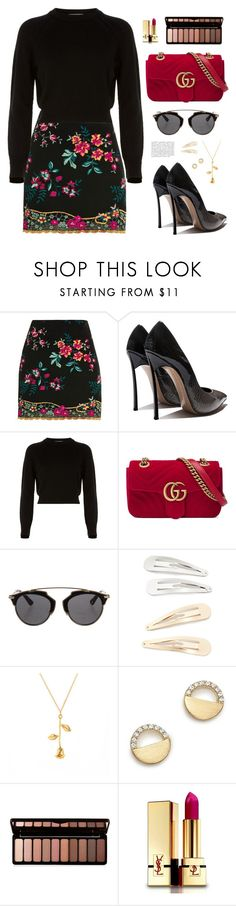 """""""Florar baby"""" by antojulia ❤ liked on Polyvore featuring Topshop, Helmut Lang, Gucci, Christian Dior, Kitsch, Bloomingdale's, Forever 21, Yves Saint Laurent and Anja"""