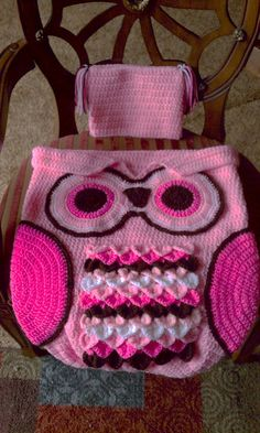 Owl Cocoon and Hat Crochet Handmade pinks baby set 0-6 months by MooreCraftyCreations on Etsy