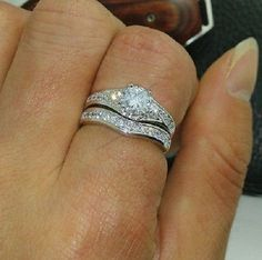Sz 5-12 Jewelry 14K White Gold Over Round Diamond Wedding Bridal Set For Ladies #br925silverczjewelry #WeddingEngagementAnniversaryBirthdayGift
