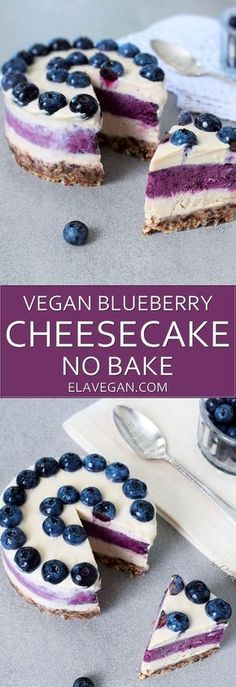This mini cake is vegan, gluten free and … Raw vegan blueberry cheesecake recipe. This mini cake is vegan, gluten free and refined sugar free. It's so creamy that it melts in your mouth - Delicious Vegan Recipes Desserts Crus, Desserts Sains, Raw Vegan Desserts, Vegan Dessert Recipes, Vegan Treats, Gluten Free Desserts, Raw Vegan Cake, Vegan Sugar, Baking Desserts