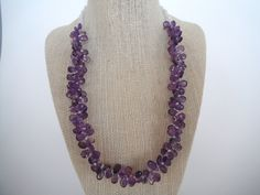 Purple Amethyst Briolette Triple Faceted Strand Natural Pear Fashion Gift Briolette Toggle Drop. $65.00, via Etsy.
