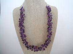 Purple Amethyst Briolette Triple Faceted Strand Natural Pear Fashion Gift Briolette Toggle Drop. $65.00, via Etsy.