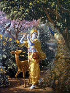 Beautiful painting of Krishna in Vrindavan. In the forground there is a huge peacock and behind Krishna there is a small deer who is completely captivated by Krishna's beauty. Shree Krishna Wallpapers, Radha Krishna Wallpaper, Lord Krishna Images, Radha Krishna Pictures, Radha Krishna Photo, Krishna Art, Hare Krishna, Krishna Lila, Krishna Statue