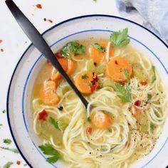 Vegan Vegetable Noodle Soup Recipe • Veggie Society Miso Noodle Soup, Vegetable Noodle Soup, Broccoli Recipes, Tofu Recipes, Healthy Recipes, Parsley Recipes, Cooking Recipes, Cilantro, Ramen