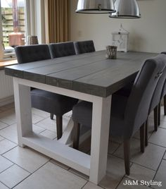 A Comprehensive Overview on Home Decoration in 2020 Kitchen Table Makeover, Diy Dining Room, Wood Table Diy, Diy Kitchen Table, Grey Kitchen Table, Diy Dining Room Table, Home Decor, Grey Dining Tables, Dining Room Table