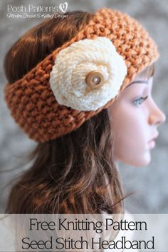 Free Knitting Pattern - An elegant seed stitch headband free knitting pattern that includes a fun knit flower pattern too! Includes several sizes. Make one for the whole family! By Posh Patterns.