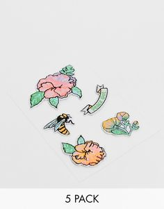 8a5b3d3284ee4 Monki flower iron on patches pack | ASOS Iron On Patches, Fashion Online,  Enamel