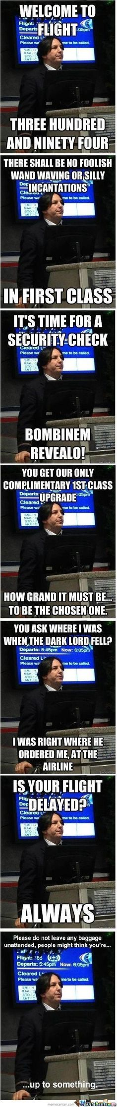 Flight Attendant Snape. Too funny.