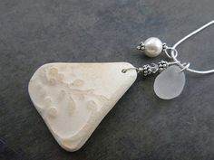 Pottery Sea Glass Necklace Flower Pendant by TheMysticMermaid
