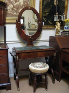 Roys Antiques, 18th and 19th century antique furniture, silver and russian ikons, Clifton Hill, (Fitzroy) Melbourne Australia - French late Empire/Charles X Dressing Table C1820