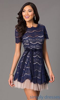 Short Lace Dress with Short Sleeves at SimplyDresses.com