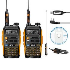 2x Baofeng GT-3 MKII 136-174/4​​00-520MHz Ham Two-way Radio Transceiver + Cable