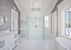gray grasscloth wallcovering in predominanly  white bathroom - love the pendant