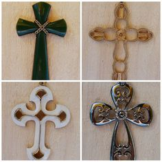 Lot of 4 Vintage Large Metal Cross Pendants Necklace Sarah Coventry CMI   #SarahCoventry #Pendant