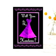 Shop Hostess Wedding Invitation - PURPLE Gown created by JaclinArt. Flower Girl Invitation, Lace Invitations, Purple Wedding Invitations, Purple Gowns, Purple Dress, Little Dresses, Cute Cards, City Lights, My Flower