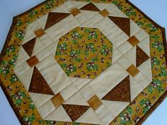 Quilted Table Topper in Fall Colors Gold by ForgetMeNotQuilteds