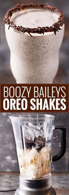 Adult Milkshake- Boozy Baileys Oreo Shakes: 2 pints vanilla ice cream, slightly softened 10 Oreo cookies 2 oz Baileys Irish cream 2 oz Vanilla vodka Drizzle of chocolate syrup Chocolate jimmies Cookies n creme chocolate bar Holiday Drinks, Fun Drinks, Yummy Drinks, Beverages, Yummy Food, Vanilla Vodka Drinks, Cocktail Drinks, Mixed Drinks, Cocktail Recipes