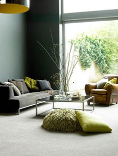 Grey and green living room