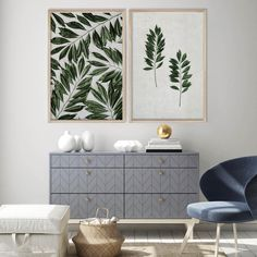 Tropical Leaves Wall Art Print Set | Collection 7 Tags: greenery; leaves; leaf; wall art; wall print; wall decor; print set; art print; home decor; office decor; living room decor; blue decor; green decor; tropical