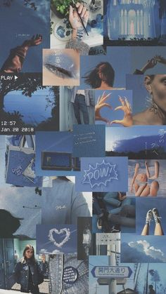 Blue Wallpaper iPhone Source by sanandari Blue Aesthetic Pastel, Aesthetic Pastel Wallpaper, Aesthetic Colors, Aesthetic Collage, Aesthetic Backgrounds, Aesthetic Vintage, Aesthetic Wallpapers, Orange Aesthetic, Aesthetic Girl
