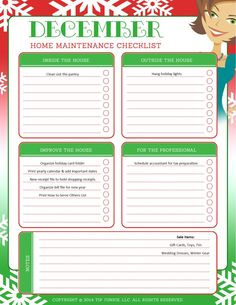December Organization and Home Repair Checklist Receipt Organization, Organization Hacks, Time Management Planner, Cleaning Baking Sheets, Home Maintenance Checklist, Household Binder, Homekeeping, Important Dates, Holiday Lights