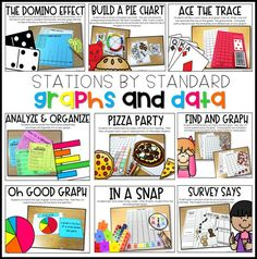 "Engaging, hands-on, interactive, math stations on graphs and data. Help your students with analyzing, naming, & reading graphs, analyzing & organizing data, tally charts, bar graphs, picture graphs, pictographs, real object graphs, charts, and building a graph with these math centers. These math station ideas and math games on graphs and data, graphing are perfect for kindergarten, first grade, and second grade. Read ""Math Stations by Standard"" at www.tunstallsteachingtidbits.com"