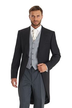 This men's Moss Bros black fine herringbone regular fit one button morningwear coat with peak lapels is made from 100% Wool and is perfect for a wedding or a day at the races. Complete the look with our traditional regular fit wool striped trouser (962191228), a waistcoat and top hat plus other accessories from our collection online