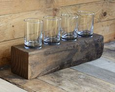 Reclaimed Wood Beam Beer Flight with Four 5 by sboliverdesigns
