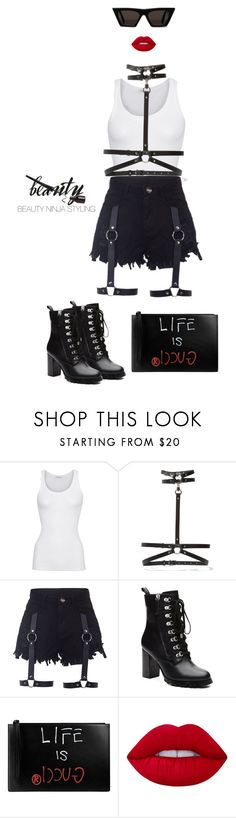 """Rebel. ~ Styled by @beautyninjastyling"" by beautyninjastyling ❤ liked on Polyvore featuring American Vintage, Zana Bayne, Witchery, Gucci and Lime Crime"