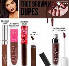 Dupe Cheat Sheet TRUE BROWN  #kyliejenner #kylielipkit #kyle #truebrown { @allintheblush}