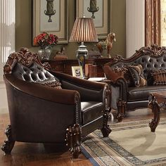 Acme Furniture - Vendome II Chair with 1 Pillows, Dark Brown PU & Cherry - 53132 Oak Furniture Land, Acme Furniture, Furniture Styles, Furniture Design, Cheap Furniture, Furniture Projects, Furniture Makeover, Antique Furniture, Brown Couch Living Room