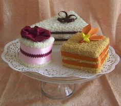 Towel Cakes, Set of Three Mini Towel Desserts