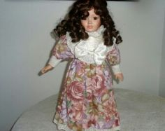 Vintage Porcelain Doll Collectible doll with brown hair in ringlets and brown eyes in victorian style dress Vintage Porcelain Dolls, Doll Stands, Victorian Fashion, Brown Hair, Vintage Dresses, Fancy, Beautiful, Clothes, Collection