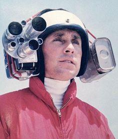 Jackie Stewart wearing an early helmet camera to capture on-board footage, 1966
